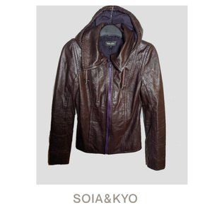 Soia & Kyo | Fitted leather jacket with hood